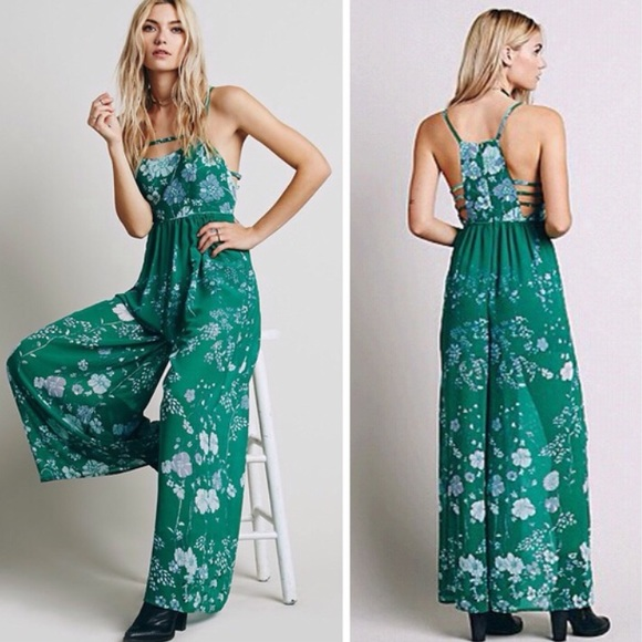 4cfb3cc190ff Free People Pants - Free People Meadow Rue Jumpsuit Emerald